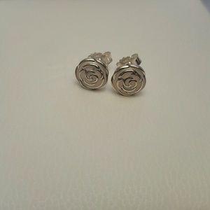Authentic pandora enamel pink roses earrings